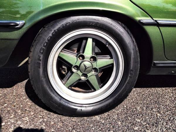 Green W116 with color matched AMG wheels