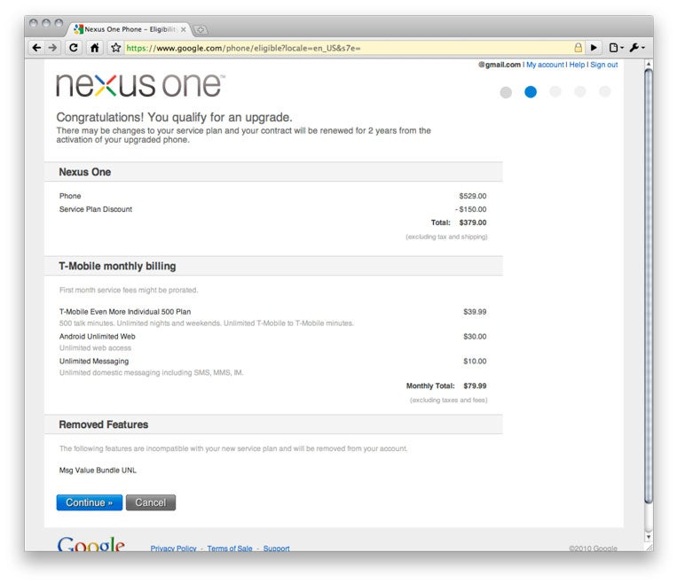 Only New T-Mobile Customers See Full Nexus One Discount