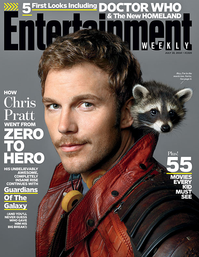 This week's EW cover is Chris Pratt and an actual Raccoon