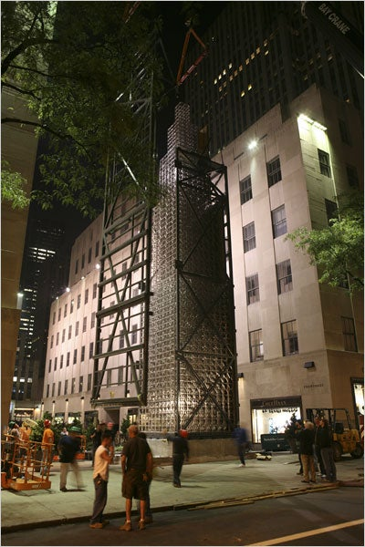 65 Foot Skyscraper Constructed in Rockefeller Center Using Erector Set Pieces