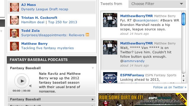 ESPN's Matthew Berry Is A Big ***** Van ***** Fan, Says ESPN's Content Filter