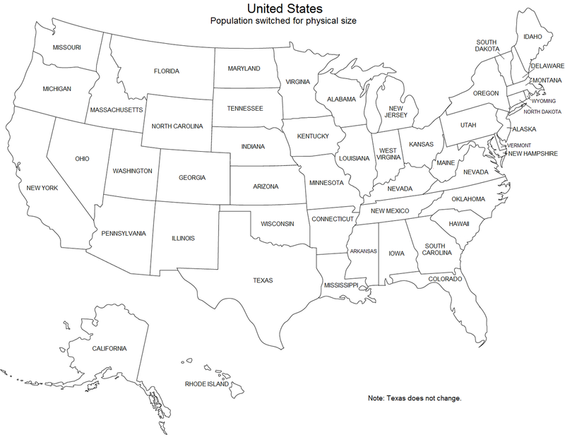Here's a map of the US if every state's population matched its size