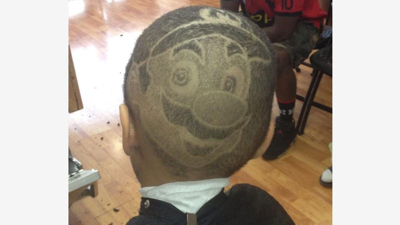 Kid Gets Crazy Mario Face Shaved Onto His Entire Head