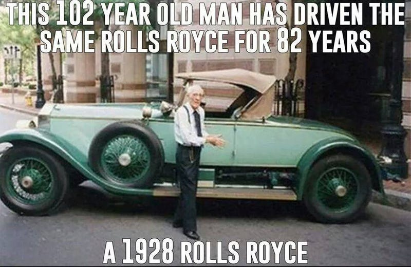 isnt this guy the coolest dude ever? **updated - only drove it for 77 years**