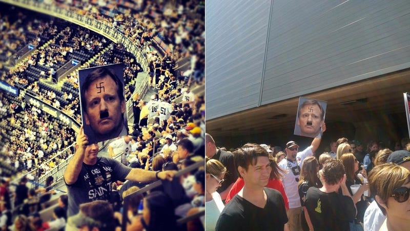 There Was At Least One Sign Depicting Roger Goodell As Hitler At The Superdome Yesterday