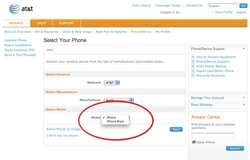 AT&T Slips iPhone Black Reference in Customer Pages