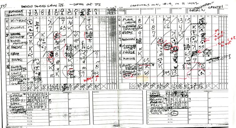 Roger Angell's Game 6 Scorecard Is Really Cool
