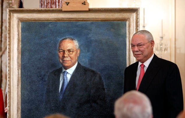 Colin Powell Has a Hot Tub Room Decorated with Portraits of Himself