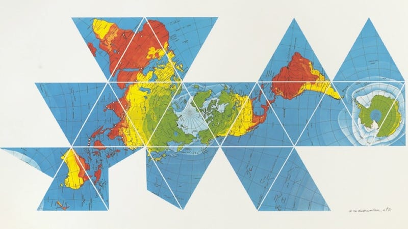 Buckminster Fuller's Dymaxion map reveals the near-contiguity of Earth's continents