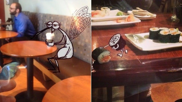 Artist inserts his hilarious monster drawings into real life