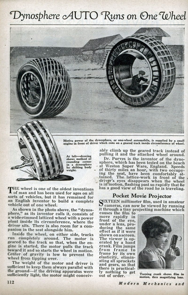 This electric car was invented in 1932 and looked like a giant hamster wheel