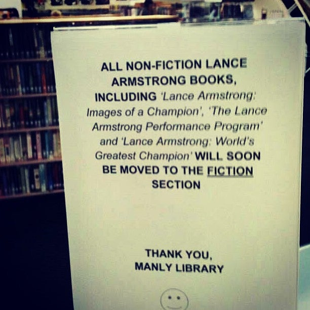 Australian Library Moves Lance Armstrong's Books to the Fiction Section