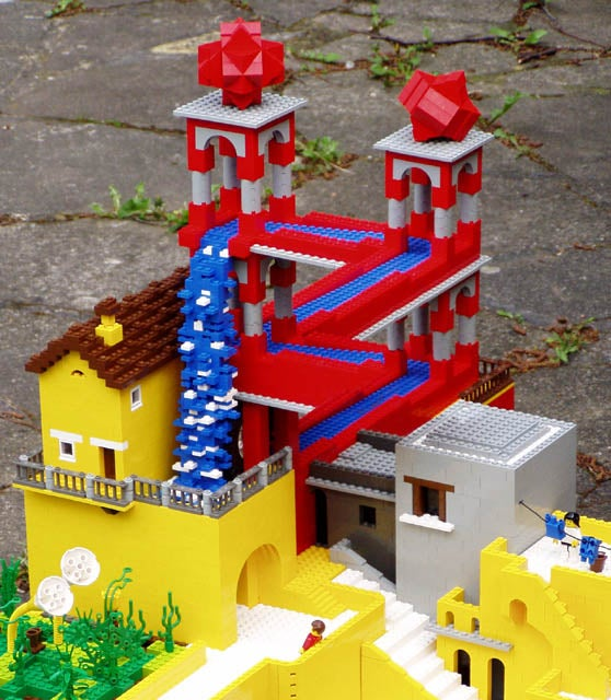 M.C. Escher's Waterfall Now in a 3D Sculpture and LEGO, Too