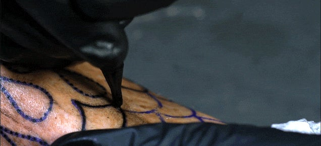 What getting a tattoo looks like in super slow motion