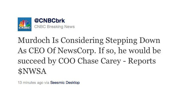 Rumor: Rupert Murdoch May Resign As CEO of News Corp