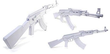 AK-47 Paper Gun Model Kit, for Terrorizing Paper Dolls
