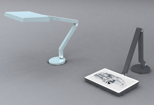 Desk Lamp Rotates To Become a Light Box For Artists