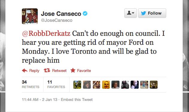 "Jose Canseco Will Not Be The Next Mayor Of Toronto, Despite Promises To ""Work Out The Citizen Thing"""