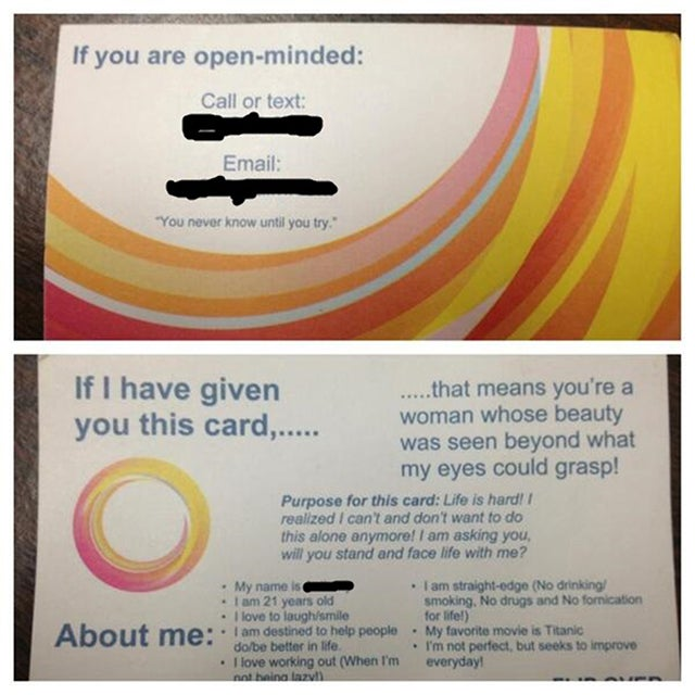 Man Hands Out Beautifully Designed Dating Cards to Women on the Street