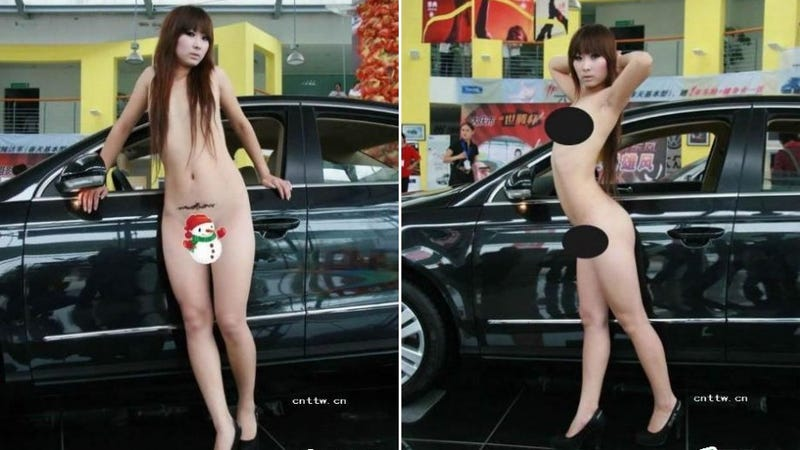 Bikini model gets naked to sell Volkswagens in China