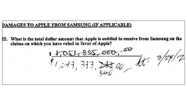 Here Are The Damages Samsung Has to Pay Apple, Scrawled by Hand on The Verdict