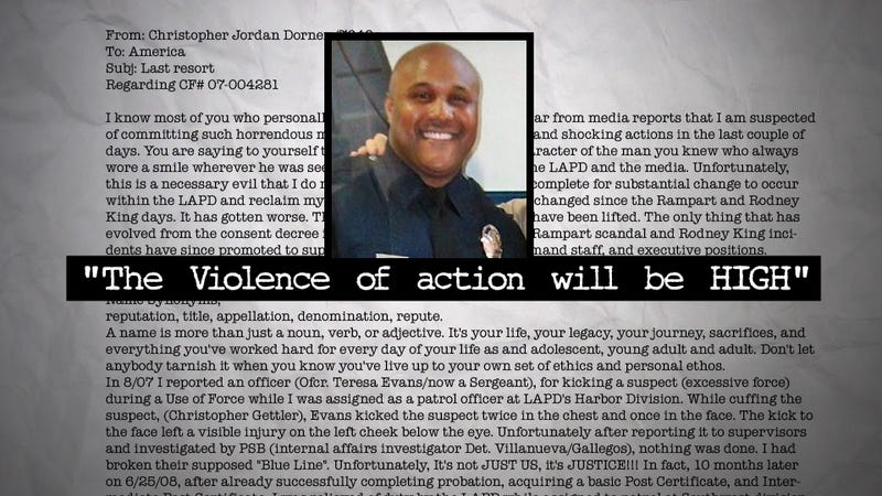 The Killer Cop's Insane Facebook Manifesto, Part 1: 'I assure you that the casualty rate will be high.'