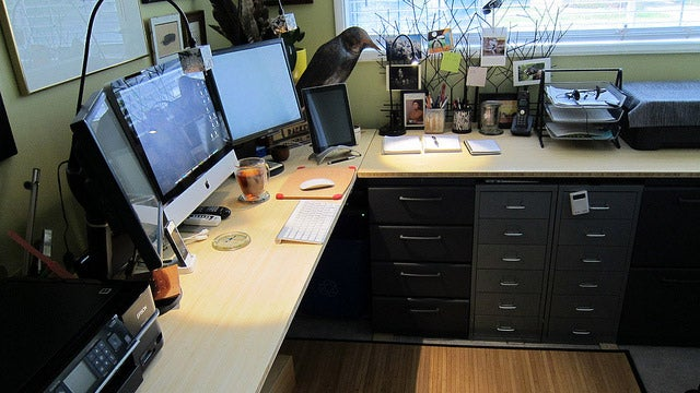 The Long, Woodsy Workspace