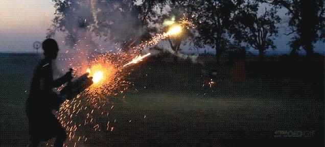 Badass fireworks machine-gun fires 900 shots in one minute