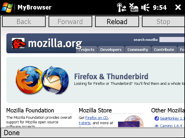 Firefox Mobile Alpha Screenshot