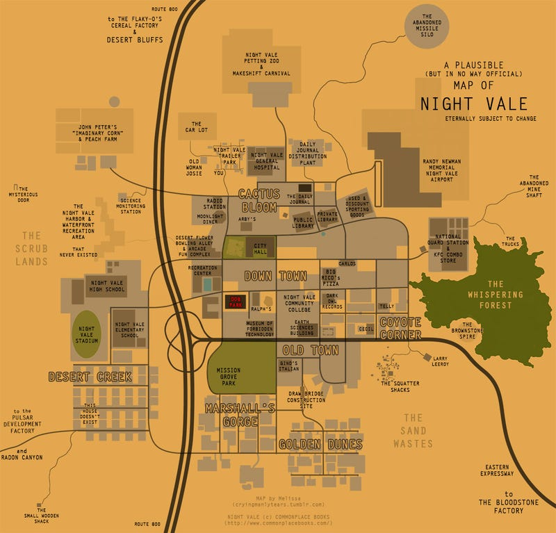 A Series of Maps of the Freaky City of Night Vale
