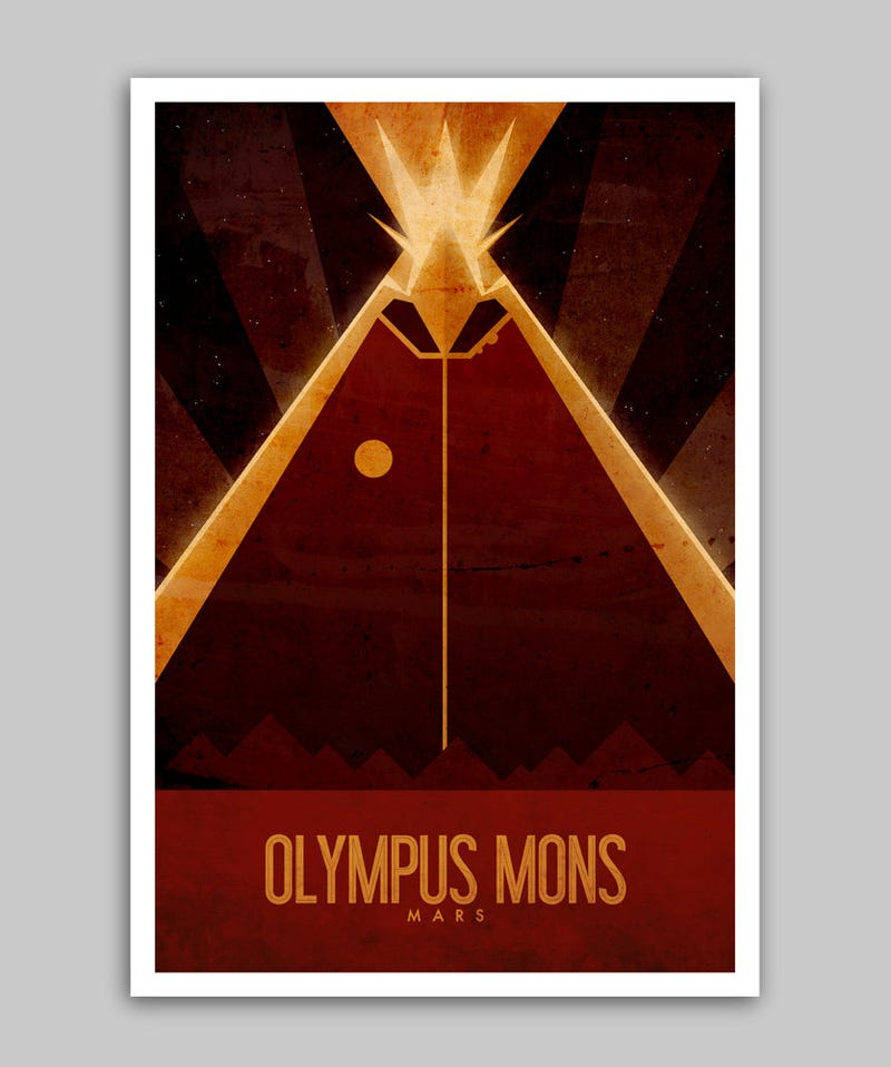 Tour the landmarks of Mars in these vintage travel posters