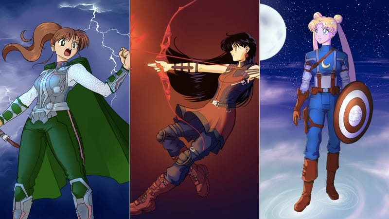 Sailor Moon And The Sailor Scouts Assemble Dressed Up As The Avengers