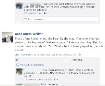 Wes Welker's Wife Took To Facebook To Say Some Unkind Things About Ray Lewis [Update]