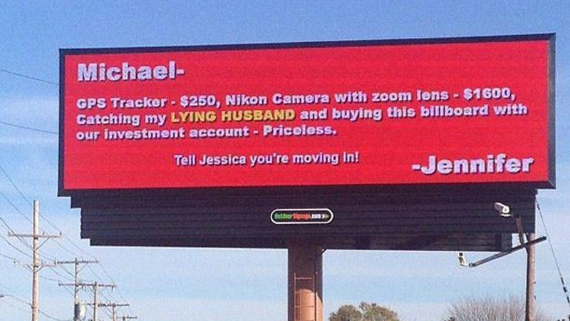 Woman Lives Out Revenge Fantasy, Shames Cheating Partner With a Big-Ass Billboard