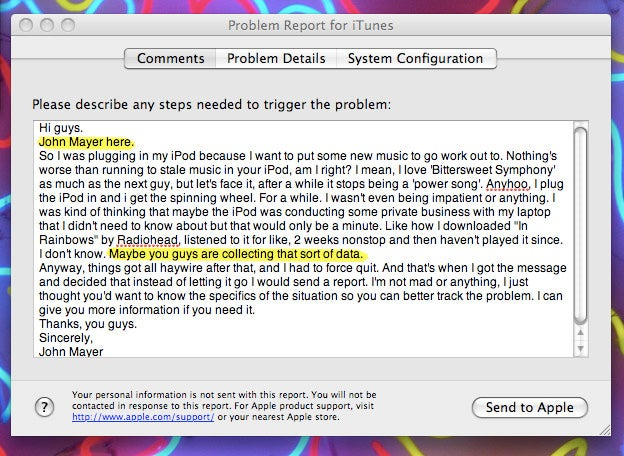 Steve Jobs' Music Poster Boy Reports iTunes Problem, Wonders If Apple Spies Him