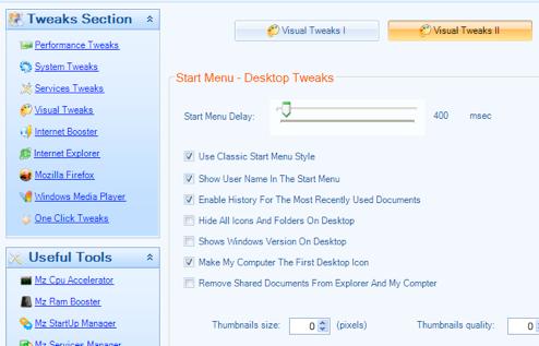 MZ Ultimate Tweaker Modifies and Optimizes System Settings