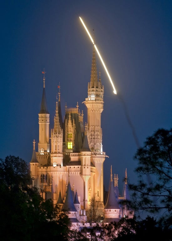 Dragon Spotted Flying Over Disney's Castle