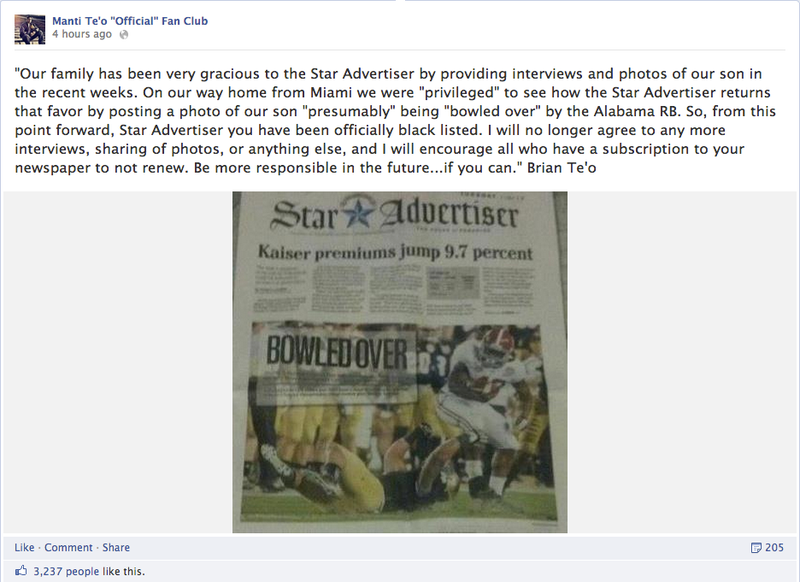 Manti Te'o's Father Wants You To Unsubscribe From The Honolulu Star-Advertiser Because It Printed A Picture Of His Son Missing A Tackle