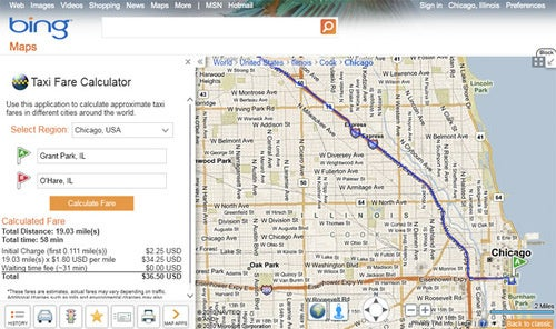 Bing Maps Calculates Your Cab Tab