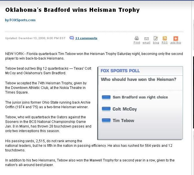 FOX Botches Heisman Story, Announces Tebow As Winner