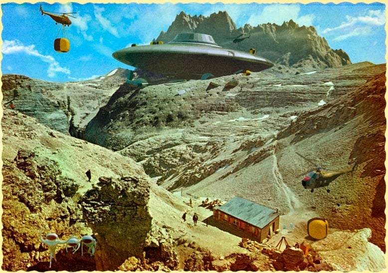 These Vintage Postcards Were Invaded By Aliens