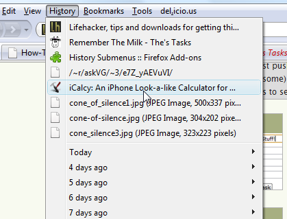 History Submenus Adds Quick Access to Recent Items
