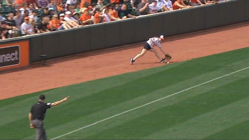 Orioles Ball Girl Ignores Umpire, Fields Live Baseball