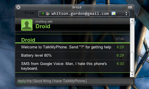 TalkMyPhone Sends and Receives Your Android's SMS Messages Through Instant Messages