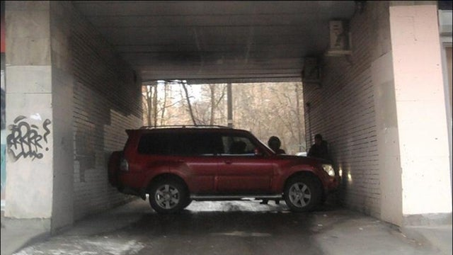 How did this Russian SUV end up parked like this?