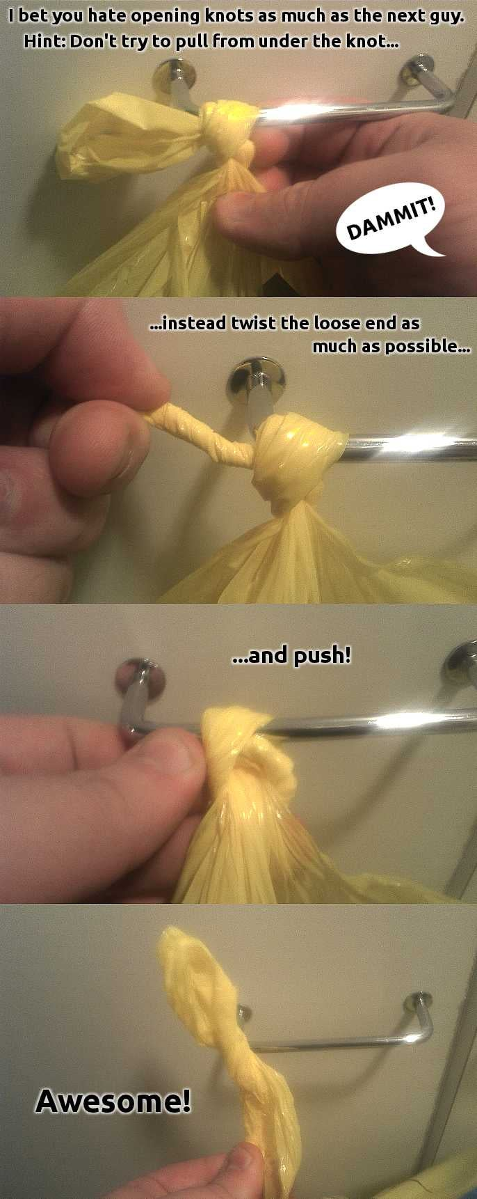 To Loosen Nearly Any Knot, Twist the End and Push