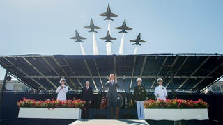 The Blue Angels Roar Over Graduation At The U.S. Naval Academy
