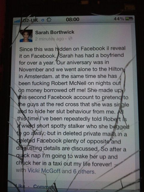 Heartbroken Optician Logs Into Girlfriend's Facebook Account, Leaves Behind Scathing Status Update Accusing Her of Cheating on Him