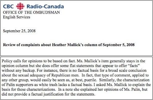 Canadian Media Ombudsman Defends 'Sexual Adequacy Of Republican Men'