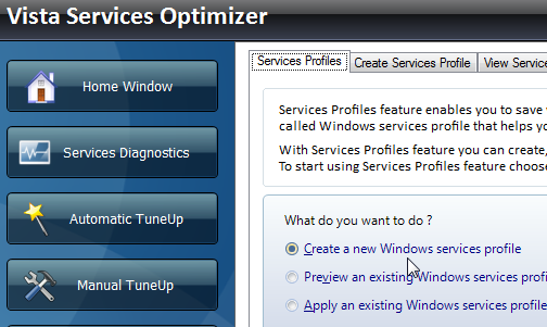 Vista Services Optimizer Manages Resources With Tweaking Profiles